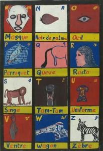 COLLECTIE TROPENMUSEUM Schoolbord voor het leren van het alfabet (M tm Z) TMnr 5723-12b 1998 CC-BY-SA 3.0